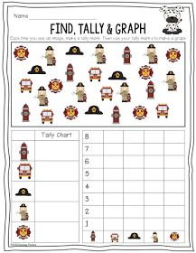 Primary Chalkboard: Fire Safety Find, Tally & Graph Freebie!