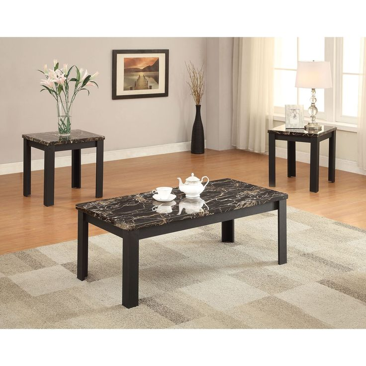 acme furniture carly black faux marble 3piece coffeeend table set coffee