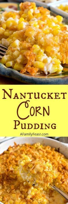 Nantucket Corn Pudding - A creamy corn casserole topped with a buttery, cheesy cracker crust. Perfect Thanksgiving side dish.