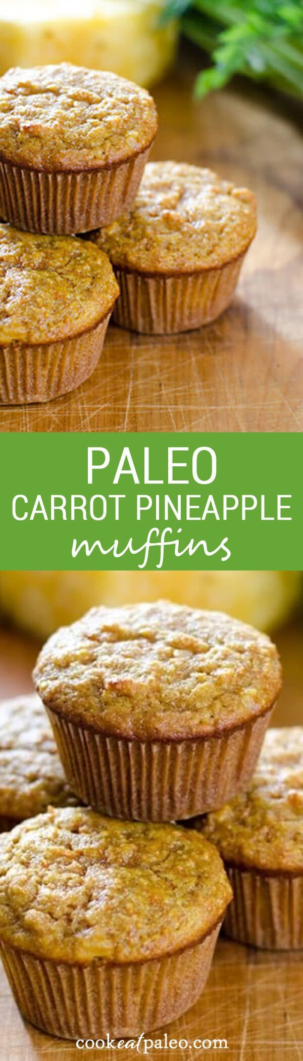 These carrot pineapple paleo muffins are perfect for breakfast or a quick snack. And they are gluten-free, grain-free and refined sugar-free.