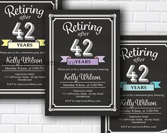 Retirement Party Invitations Printable Black & by NiftyPrintables                                                                                                                                                      More