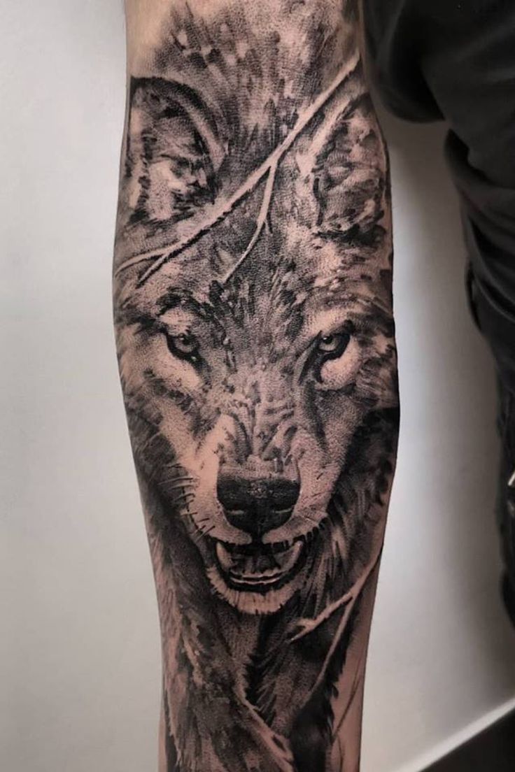 Black And Grey Wolf Sleeve Tattoo Realistic Wolf Tattoo For Men Made By John Hudic In France Black Fran Wolf Tattoos Men Wolf Tattoo Sleeve Wolf Sleeve