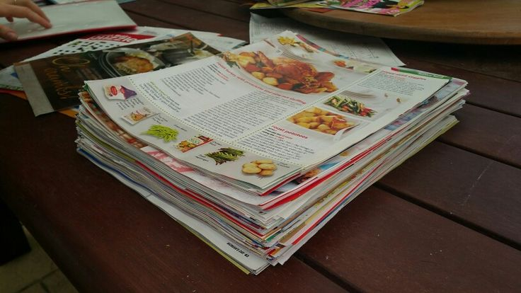 Cut recipes and garden ideas of magazines, slip into plastic folders for quick and easy reference. Plastic folder makes it easy to clean after cooking!