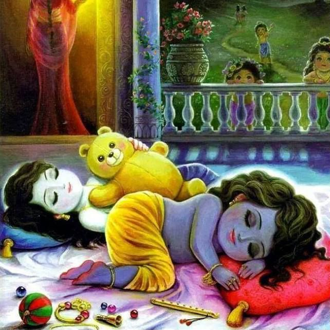 Resting. But not the gopas and Yashoda, only Krishna and Balarama.