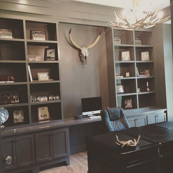 77 Really Cool Living Room Lighting Tips Tricks Ideas: Office Painted BM Kendall Charcoal, Faux Antler Chandelier