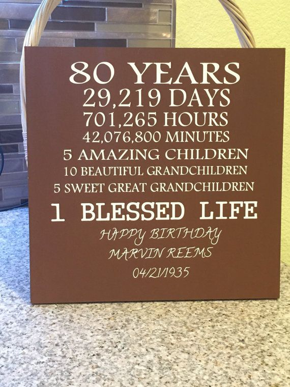 80 Year Old Birthday Wood Sign Can Be Customized To Any Age A Perfect Gift Grandfather Grandmother 80th Party In 2019