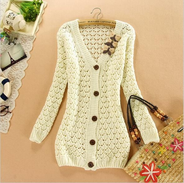 Korean Pure Color Bow V-neck long-sleeved hollow pattern cardigan sweater shirt women crochet knitting blouse ladies jacket tops