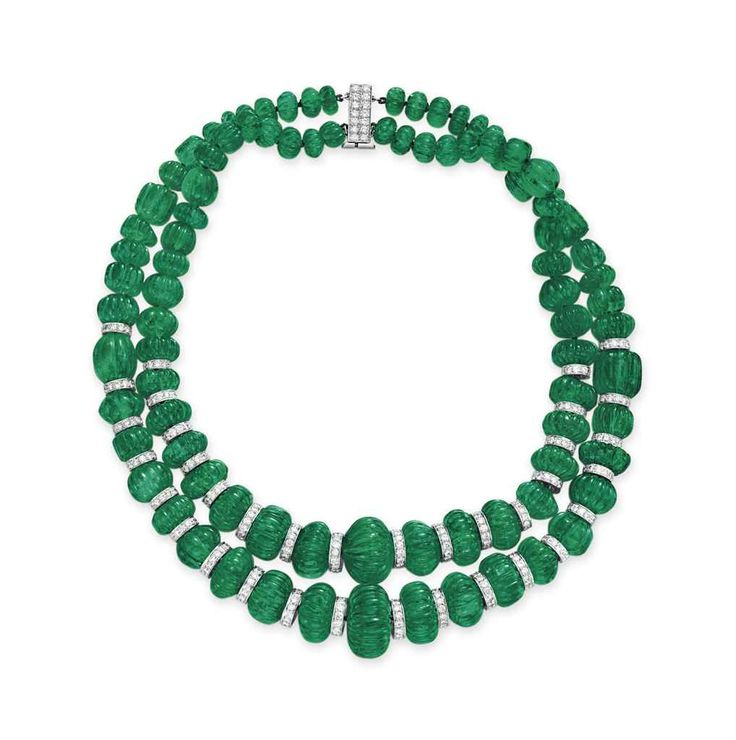 A TWO-STRAND EMERALD BEAD AND DIAMOND NECKLACE, BY DAVID WEBB