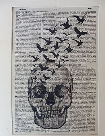 Skull with Black Crows Flying Dictionary Wall by DecorisDesigns