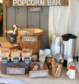 Try having a popcorn bar at your next backyard cookout. Cute idea! #popcorn #BBQ