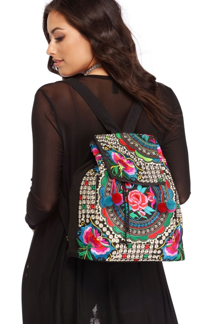 Black Embroidered Festival Backpack