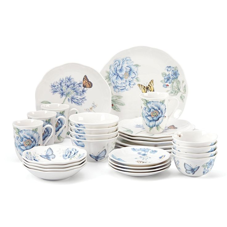 "Lenox Created of Porcelain   Microwave and dishwasher safe   Incorporates four 11"" supper plates, four 9"" serving of mixed greens plates, four 6-3/4"" organic product dishes, four 6"" party plates, four 12-oz mugs, four 16-oz dishes, and four 12-oz dessert bowls   You can look here and buy."