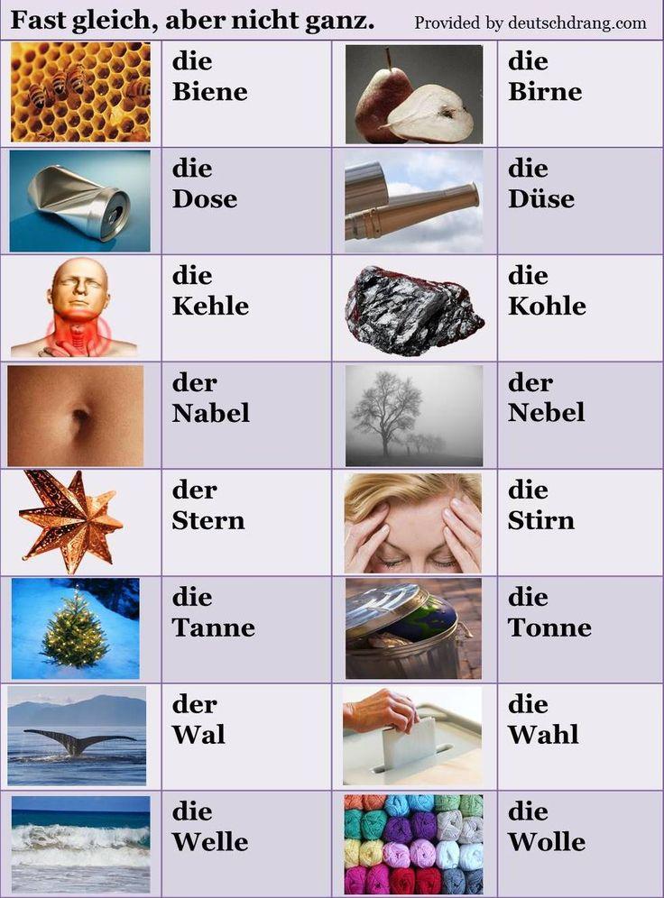 """Teil 2 meiner Serie """"Fast gleich, aber nicht ganz."""" Nouns that differ by one letter."""