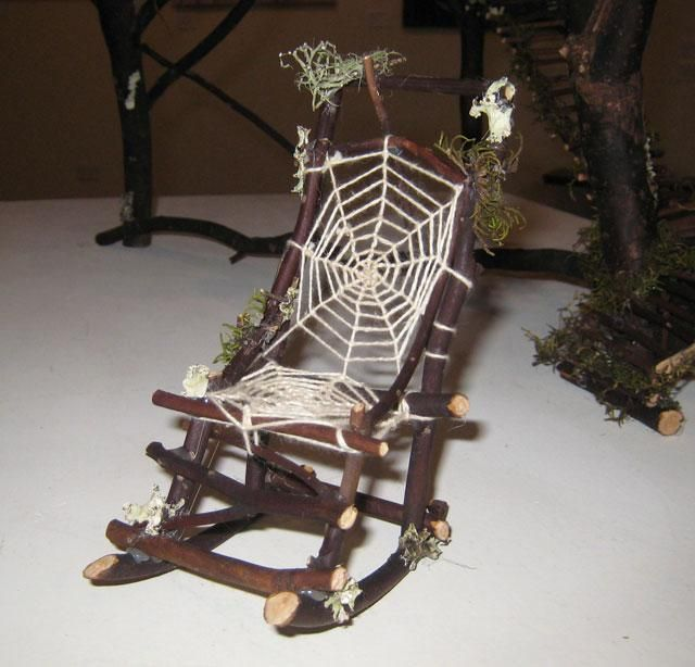 waiting for eggs to hatch! Camphor twig fairy rocking chair with hademade web lace detail. Made to order