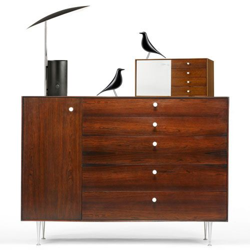 Eames House Birds, a George Nelson Half Nelson Table Lamp and two George Nelson Jewelry Chests.