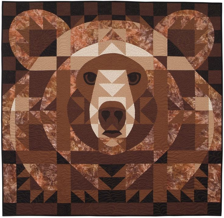 "Bear Face Quilt by Janet Fogg. 48"" square. Pattern available through her web…"