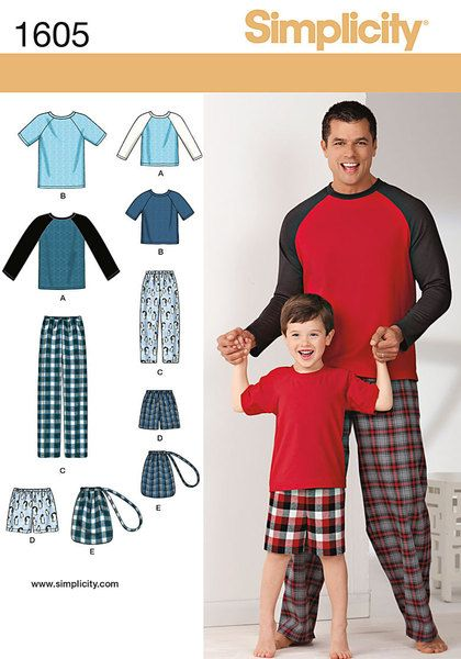 Boys' and men's loungewear includes comfy pull on pants or shorts with elastic waist, drawstring bag and knit baseball top with neck band and long or short raglan sleeves. Neck band and sleeves can be made in contrast fabric for a sporty look. Simplicity Easy to Sew sewing pattern.