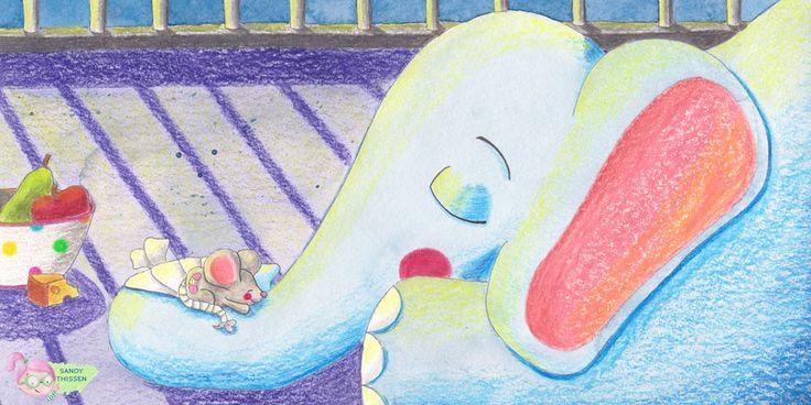 Elefant und Maus im Zoo. Kinderbuchillustration. Portfolio Sandy Thissen
