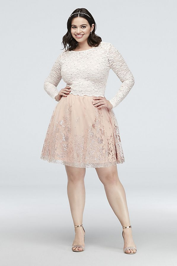 Lace and Floral Glitter Two-Piece Plus Size Dress | David\'s ...