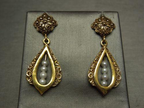 Vintage-Estate-C1950-14K-Black-Enamel-Filigree-Pearl-Hanging-Dangling-Earrings