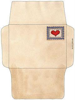 Sobres con corazones para imprimir