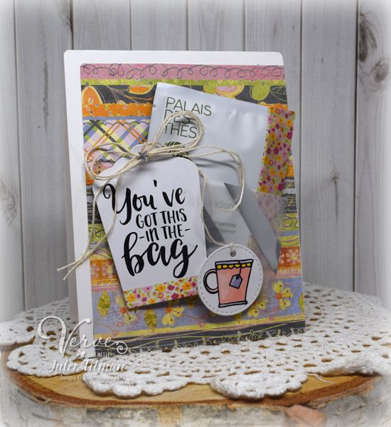 Handmade card with vellum tea bag pocket by Julee Tilman using the Rise and Shine digital set from Verve. #vervestamps #spring2017clh