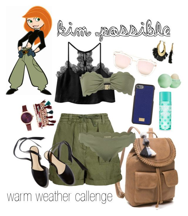 """""""kim possible/ warm weather challenge"""" by beautytime101 ❤ liked on Polyvore featuring Red Camel, Topshop, Dolce&Gabbana, Marysia Swim, Quay, Jessica Carlyle, Eos and Rebecca Minkoff"""