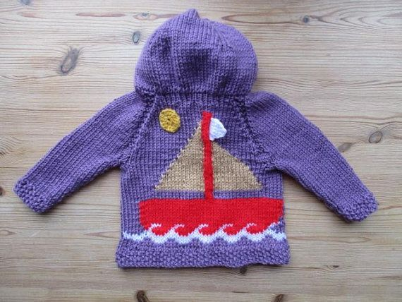 Yacht baby hoodie, ship  baby knit, marine, neutral, boat coat, handmade knit, jacket, baby shower gift, hooded baby top, knitted clothes