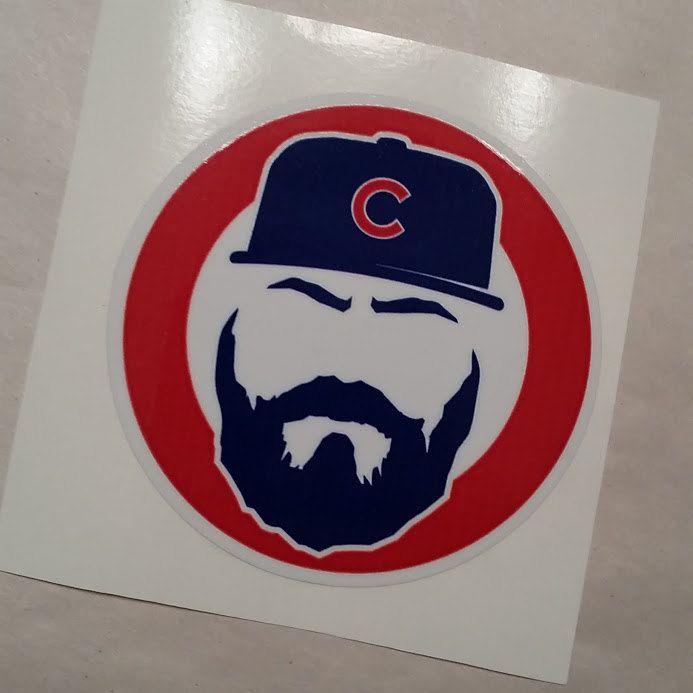 Chicago Cubs Jake Arrieta Beard Silhouette Sticker Laminated Decal