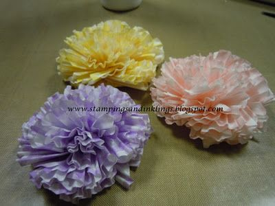 Handmade Carnation Tutorial - made from paper cupcake liners.  Designed by Caroline Duncan ~ Stampings and Inklings
