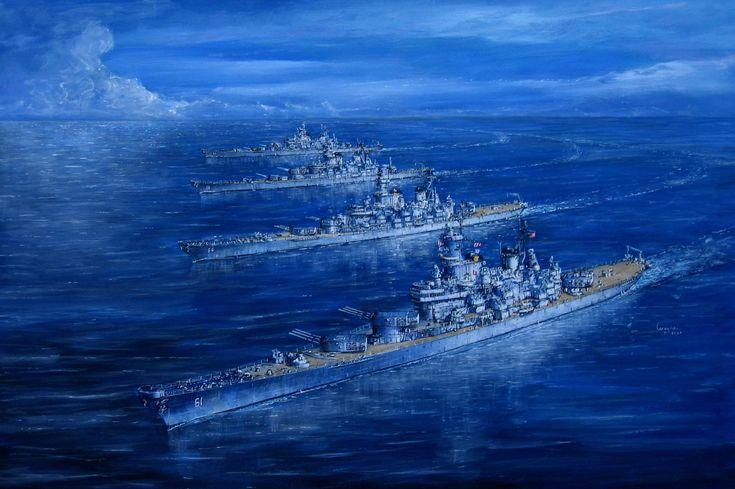Painting of the 4 Iowa Class Ships. USS IOWA (BB-61) USS NEW JERSEY (BB-62) USS MISSOURI (BB-63) USS WISCONSIN (BB-64)