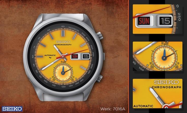 Seiko automatic chronograph illustration (Werk 7016, type 7000)  http://designcraft.hu/munkaim/illusztracio