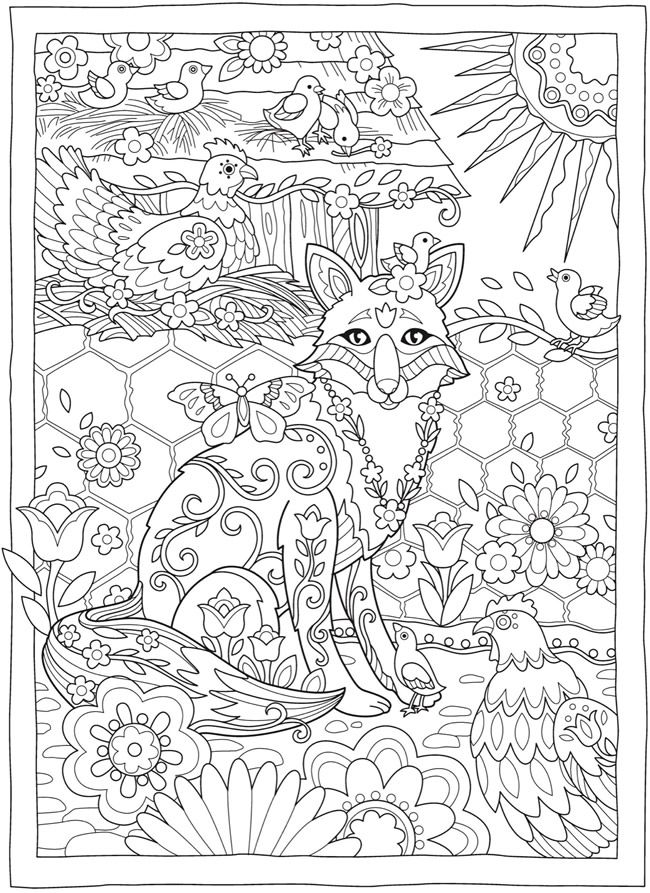 Creative Haven Fanciful Foxes Coloring Book | Dover Publications