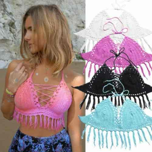 Bikini Top Crop Tejido Mano Crochet Varios Modelos - $ 375,00
