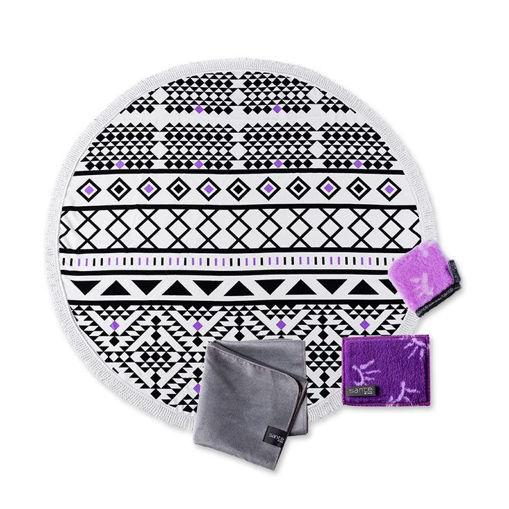 Summer Essentials - Lilac. Summer skin care products for glowing summer skin. Luxurious, printed round Beach Towel and super absorbent fibre Sports Towel.