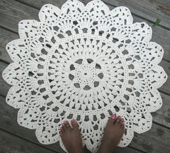 Ecru Off White Cotton Crochet Doily Rug in 30 by byCamilleDesigns, $65.00