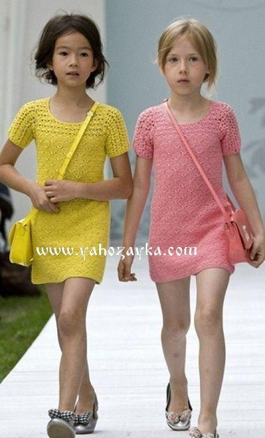 Модное детское платье крючком. Детские платья с подиума 2017 года   Я Хозяйка
