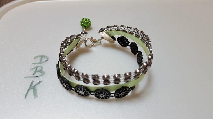 """Bracelet """"3 en 1"""" vert classe et brillant : Bracelet par dbk-creation"""