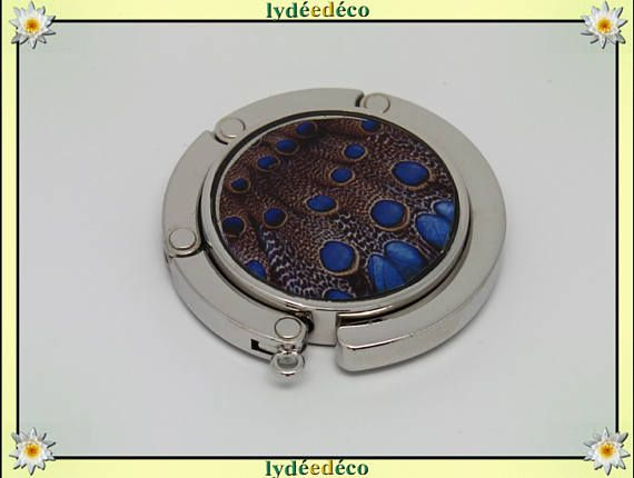Accroche sac a main Plume de paon métal et resine motif