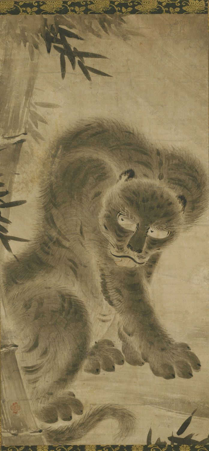 Tiger  One of a pair of scrolls with Philadelphia Museum of Art, 2000-114-1  Attributed to Kano Motonobu, Japanese, c. 1477 - 1559