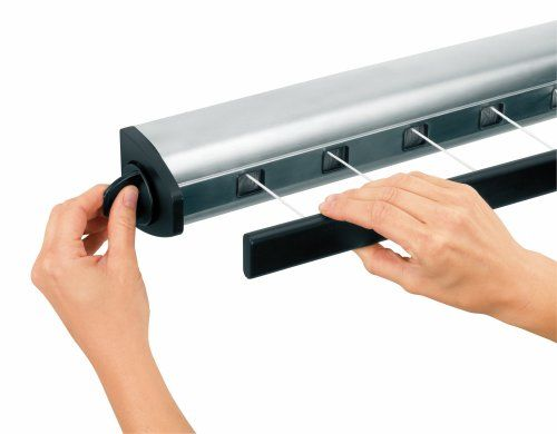 Amazon.com - Brabantia Wall-Mount Pull Out Clothes Line - Stainless Steel, 385766 - Clothes Drying Racks