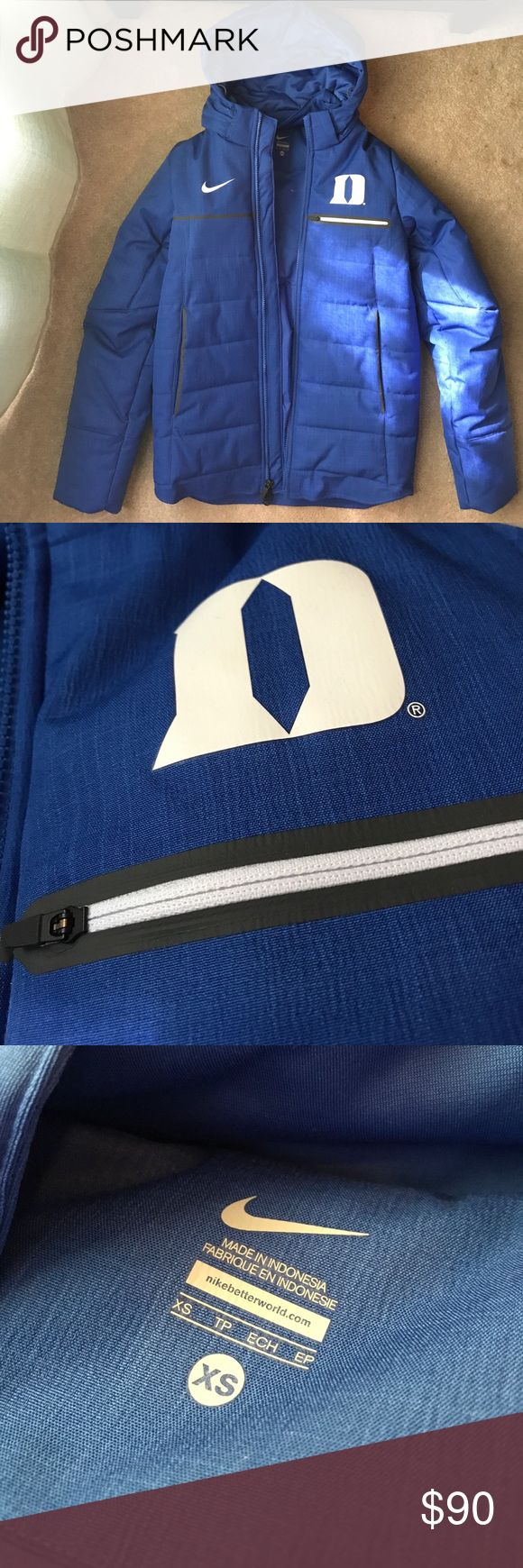 Nike Duke Blue Winter jacket. Never worn. Nike Winter puffer jacket. 100% Polyester. Three zip pockets. Never worn. Was too small for me. Nike Jackets & Coats Puffers