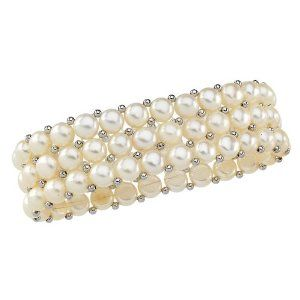 Sterling Silver Three Row Cultured Fresh Water White Button Pearl Bracelet Puresplash. $44.99