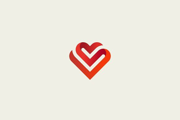 Heart vector symbol. Valentines day ribbon logotype. Abstract line medical health logo icon design
