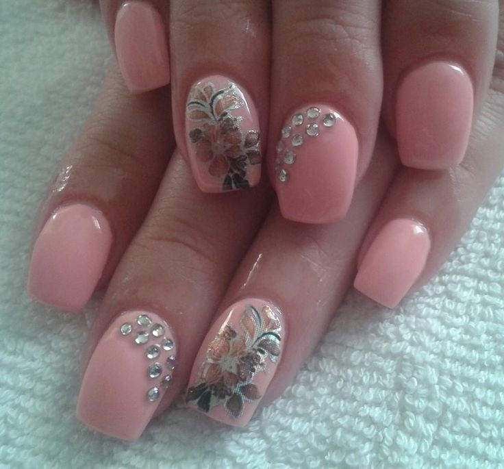 pink and flowers nails