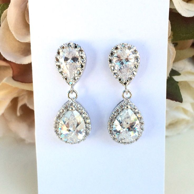 Teardrop cubic zirconia bridal earrings by Colour and Sparkle. Bridal jewellery, wedding jewellery, bridal accessories