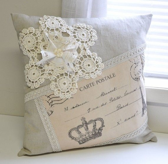 vintage pillow with doily. creative!