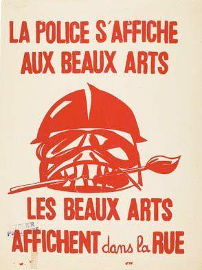 MAI 68 - la police s'affiche aux beaux arts- les beaux arts affichent dans la rue