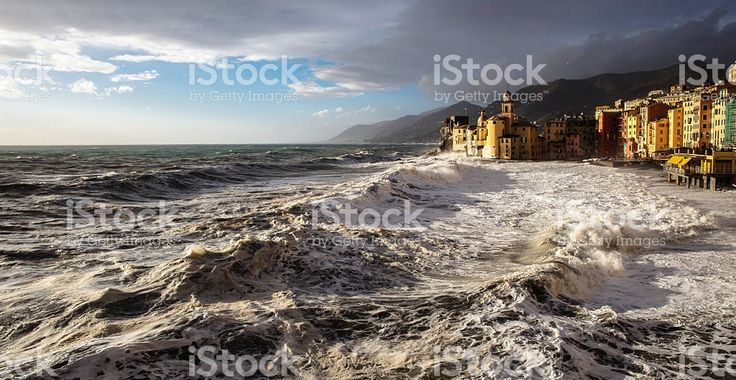 camogli with sunset light and rough sea foto stock royalty-free