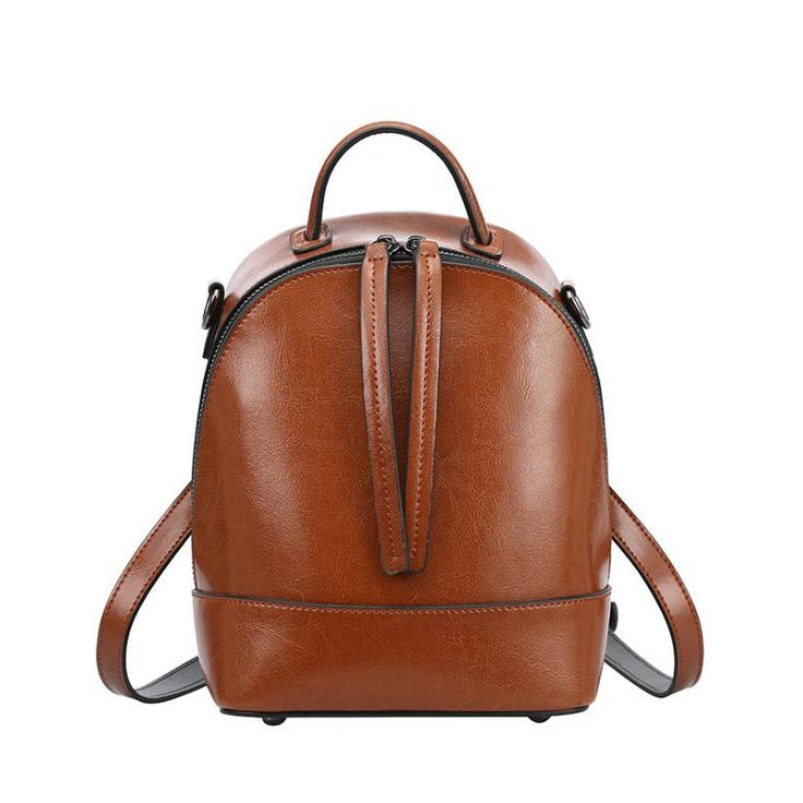 NEW Fashion solid Genuine Leather Backpack Women Bags vintage Style brown Backpack Girls School Bags Women's zipper shoulder bag